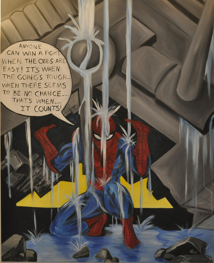 Spiderman Painting - When The Going Gets Tough by Mitchell Todd