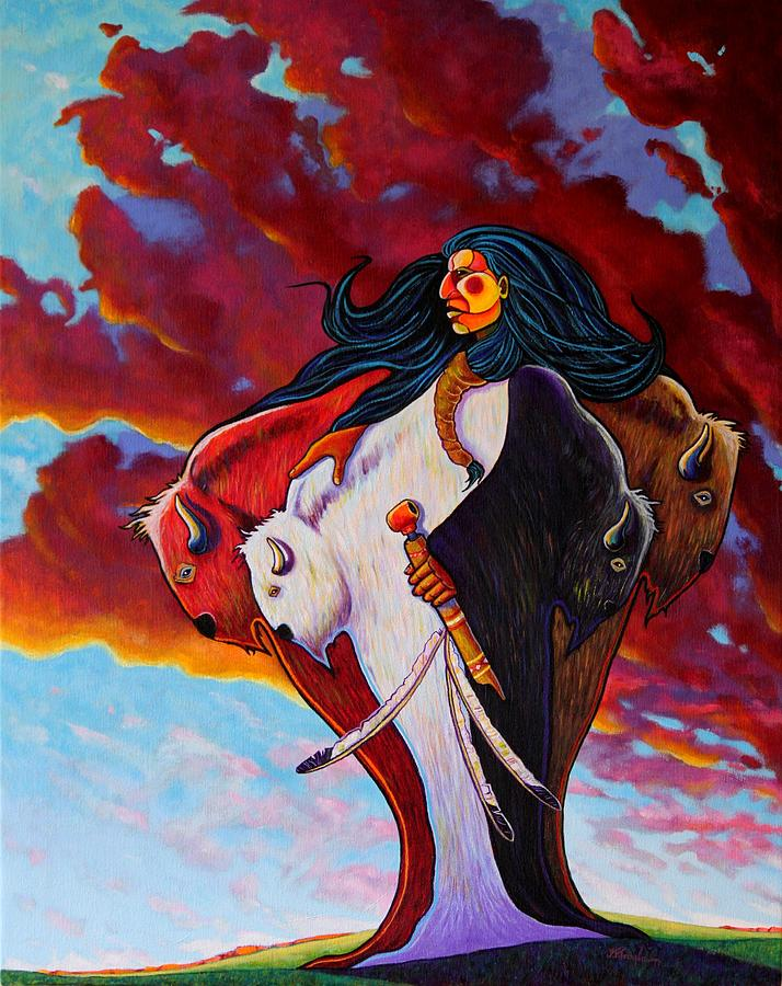 Native American Painting - When The White Buffalo Woman First Appeared by Joe  Triano