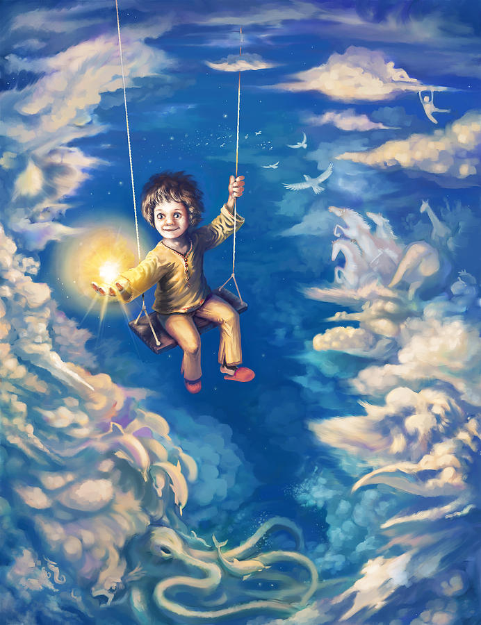 Kid Digital Art - When we were kids by Odysseas Stamoglou