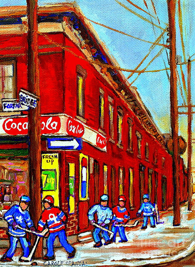 Montreal Street Scenes Painting - When We Were Young - Hockey Game At Piches - Montreal Memories Of Goosevillage by Carole Spandau