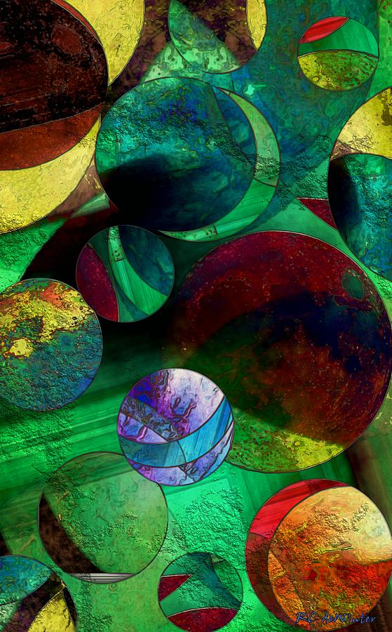Planets Painting - When Worlds Collide by RC deWinter