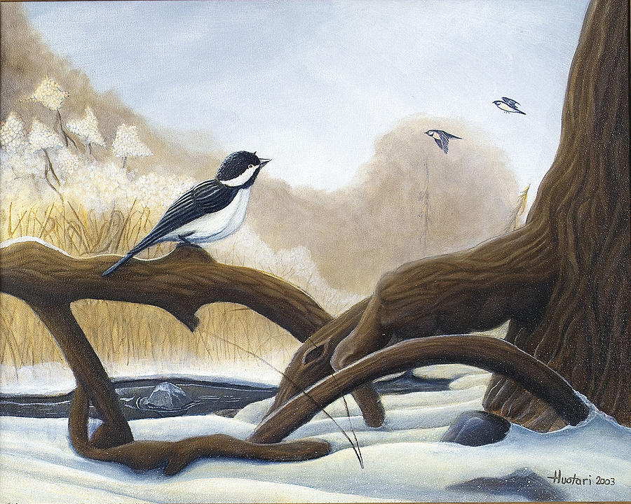Chickadee Painting - Where Are You Going by Rick Huotari