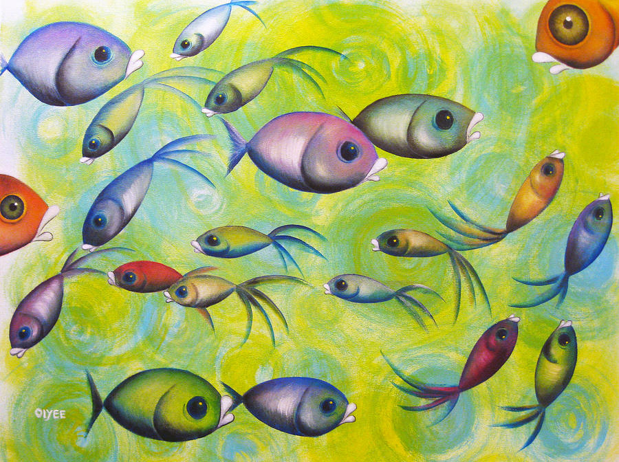 Whimsical Fish Painting - Where Are You by Oiyee At Oystudio