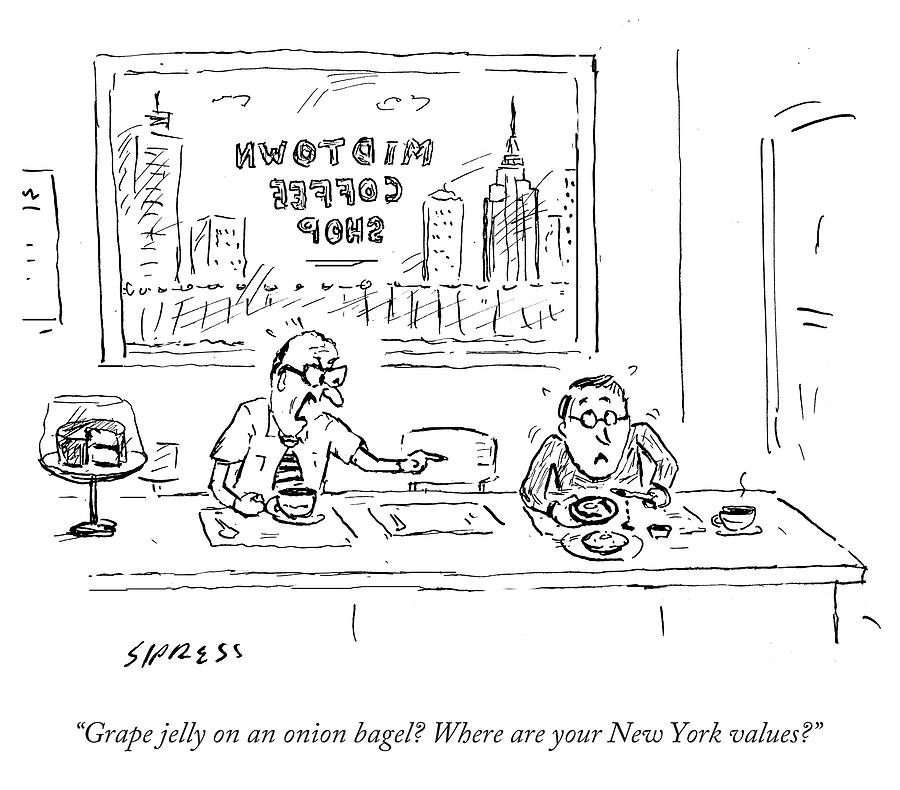 Cartoon Drawing - Where Are Your New York Values by David Sipress