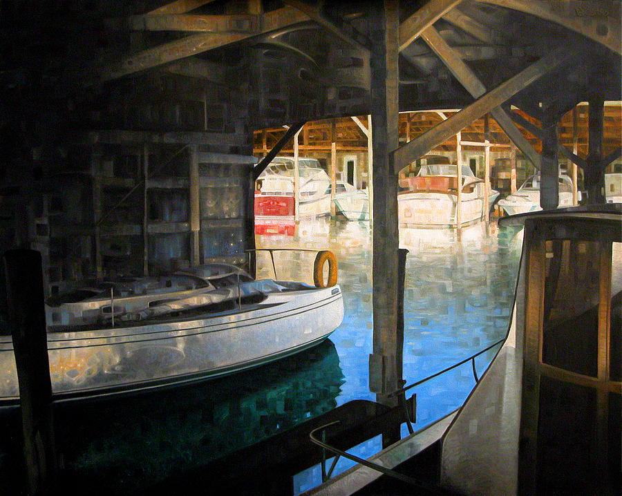 Ships Painting - Where Boats And Barnacles Dwell by T S Carson