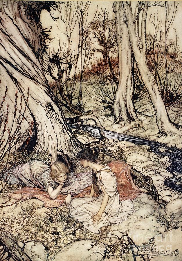 Arthur Rackham Drawing - Where Often You And I Upon Fain Primrose Beds Were Wont To Lie by Arthur Rackham