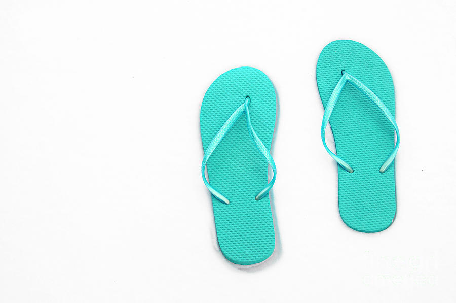 Thongs Photograph - Where On Earth Is Spring - My Aqua Flip Flops Are Waiting by Andee Design