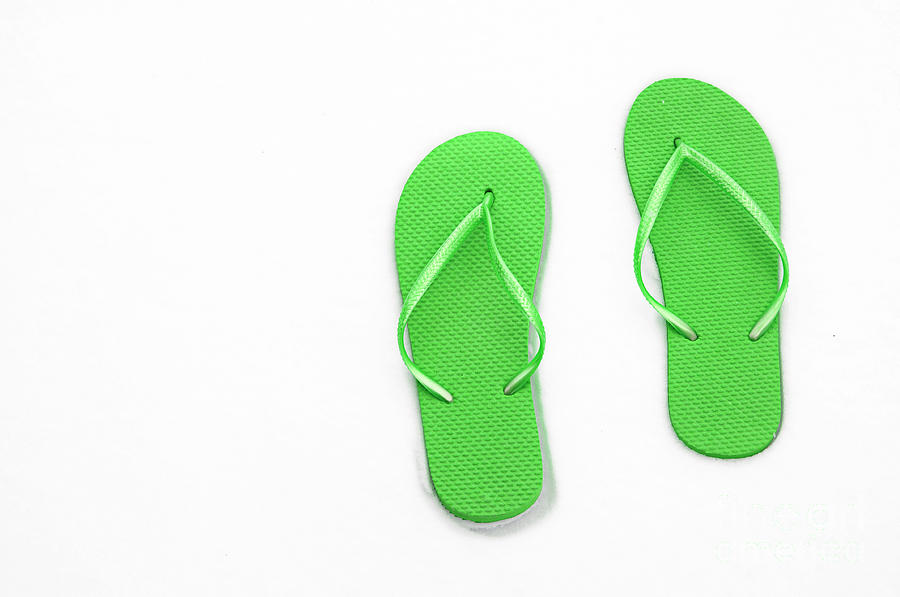 Thongs Photograph - Where On Earth Is Spring - My Green Flip Flops Are Waiting by Andee Design