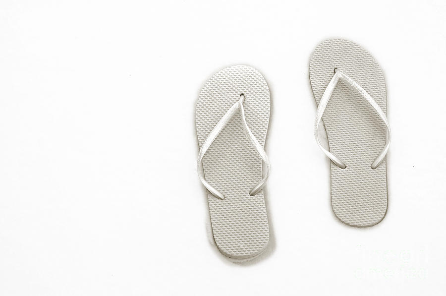 Thongs Photograph - Where On Earth Is Spring - My Silver Flip Flops Are Waiting by Andee Design