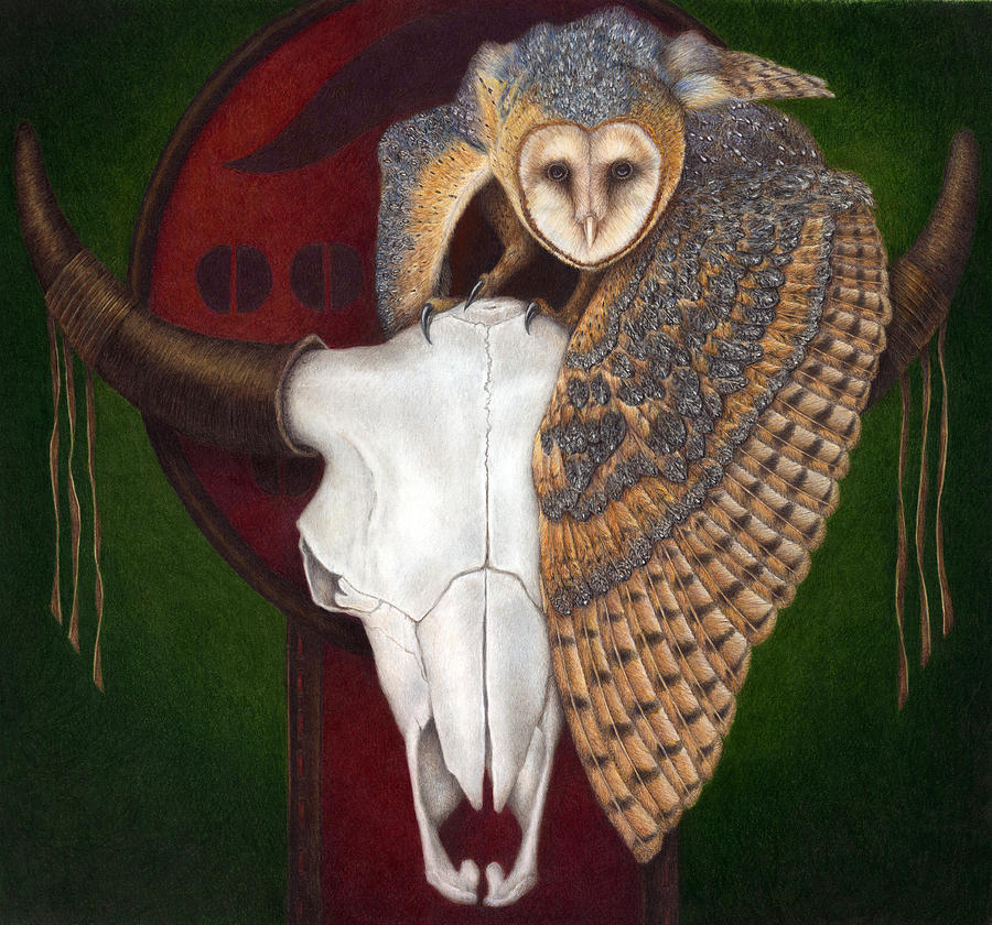 Owl Painting - Where Once They Roamed by Pat Erickson
