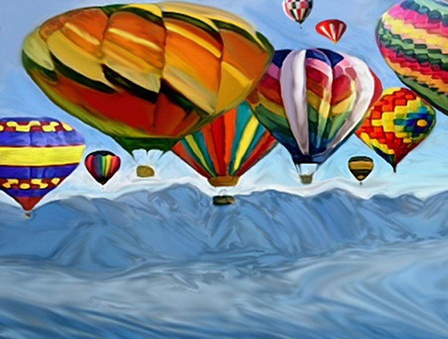 Hot Air Balloons Painting - Where Rivers Merge by Dennis Buckman