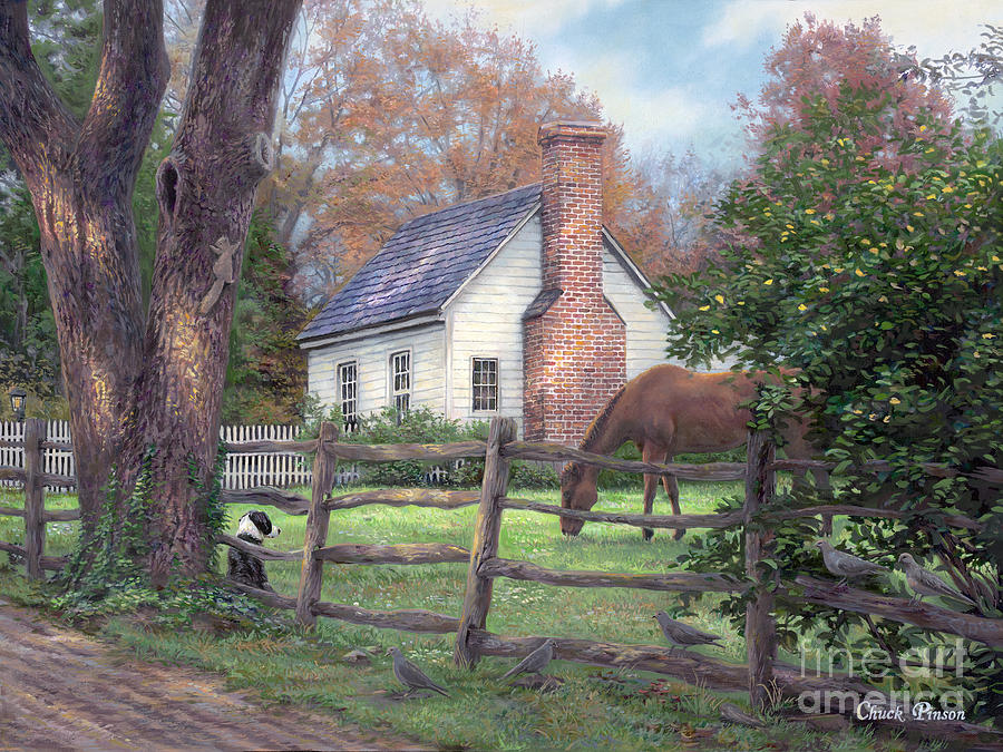 Folk Art Painting - Where Time Moves Slower by Chuck Pinson