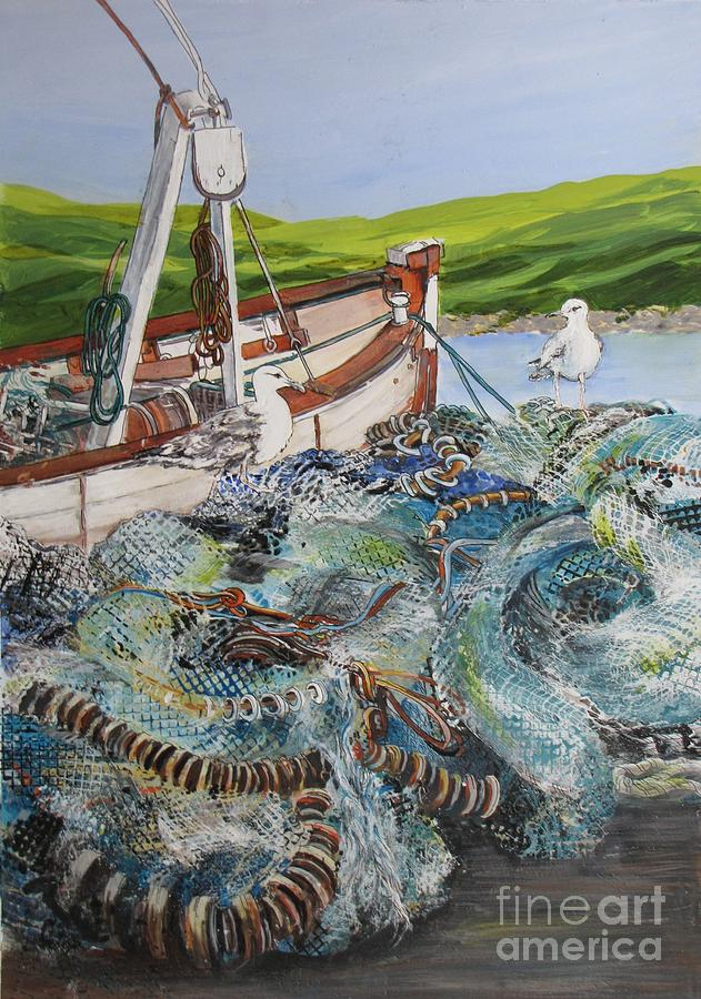 Ireland Painting - Where-are-the-fish by Nancy Newman