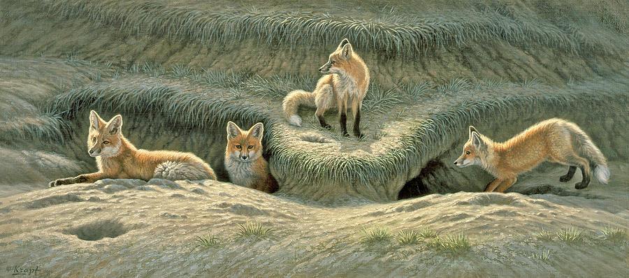 Wildlife Painting - Wheres Mom-fox Pups by Paul Krapf