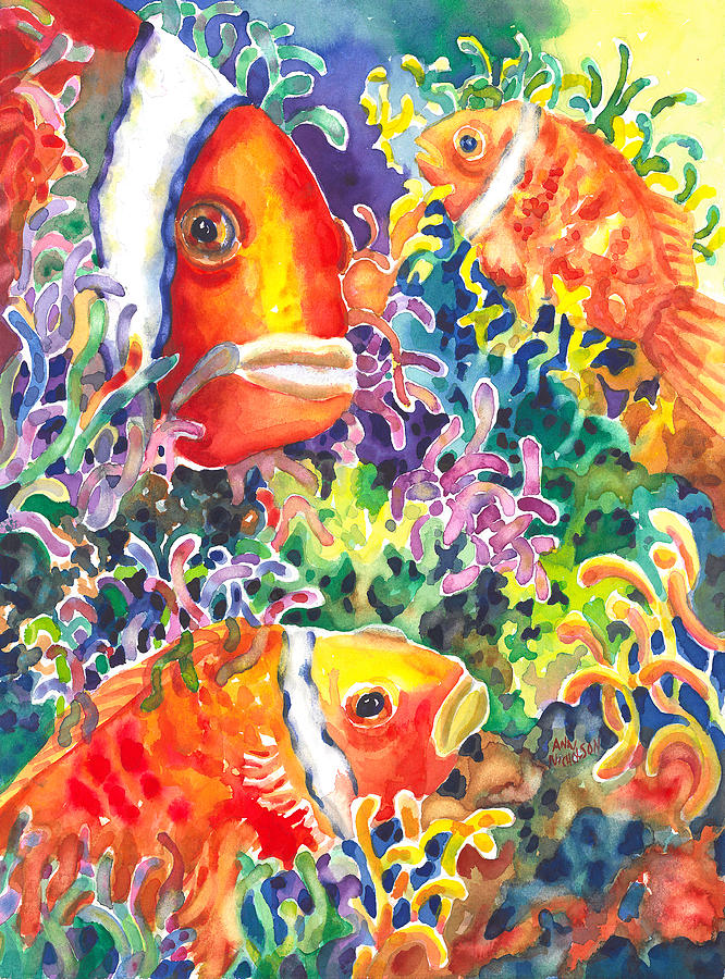 Clown Fish Painting - Wheres Nemo I by Ann  Nicholson