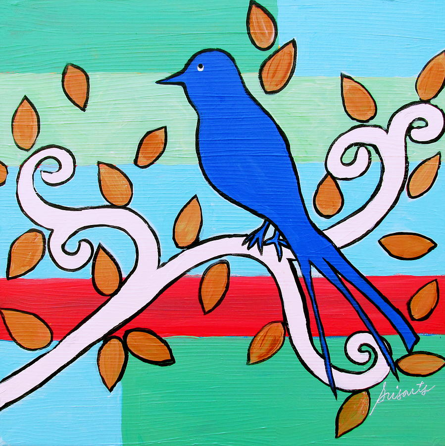 Whimsical Blue Bird Painting By Pristine Cartera Turkus