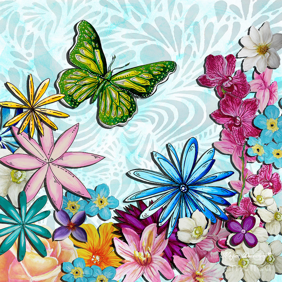 Whimsical Floral Flowers Butterfly Art Colorful Uplifting