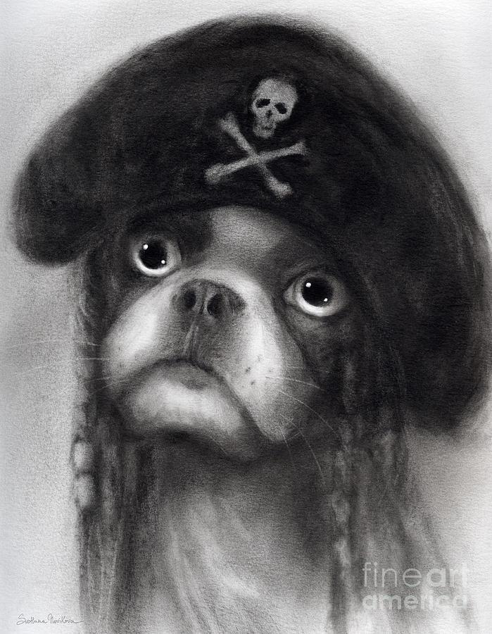 French Bulldog Painting - Whimsical Funny French Bulldog Pirate  by Svetlana Novikova