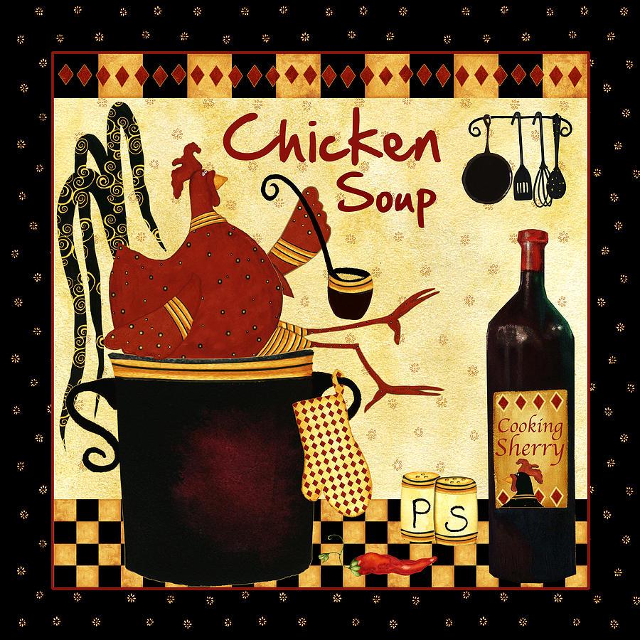 Kitchen Art America Inc: Chicken Soup Painting By Debi Hubbs