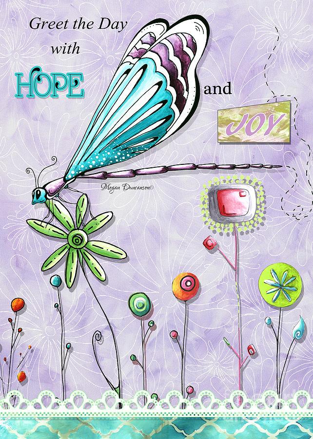 Whimsical Inspirational Dragonfly And Flower Art Inspiring