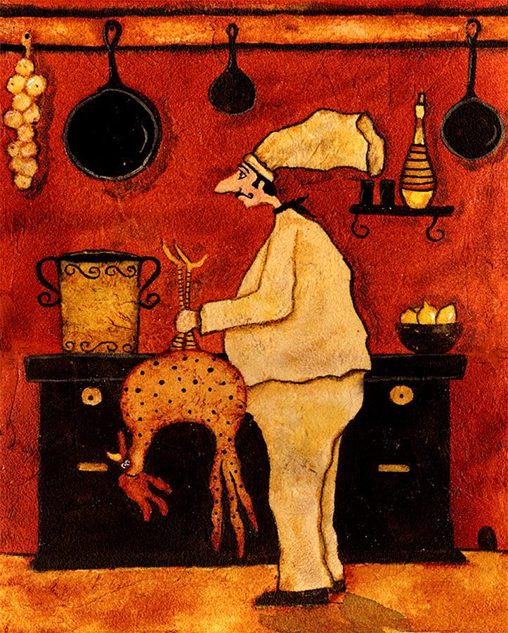 Whimsical italian kitchen chef chicken soup pot stove folk for Italian kitchen prints