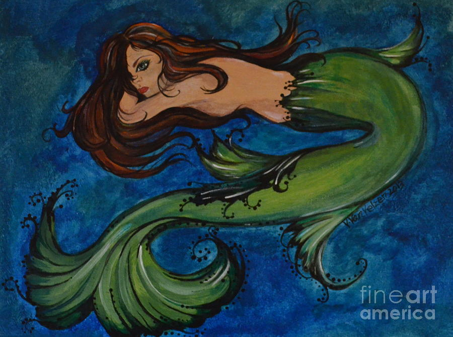 Mermaid Painting - Whimsical Mermaid by Valarie Pacheco