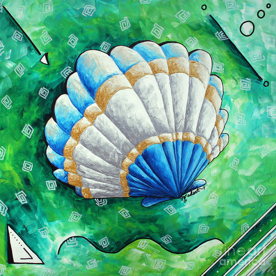 Whimsical Sea Scallop Shell Original Painting By Megan ...