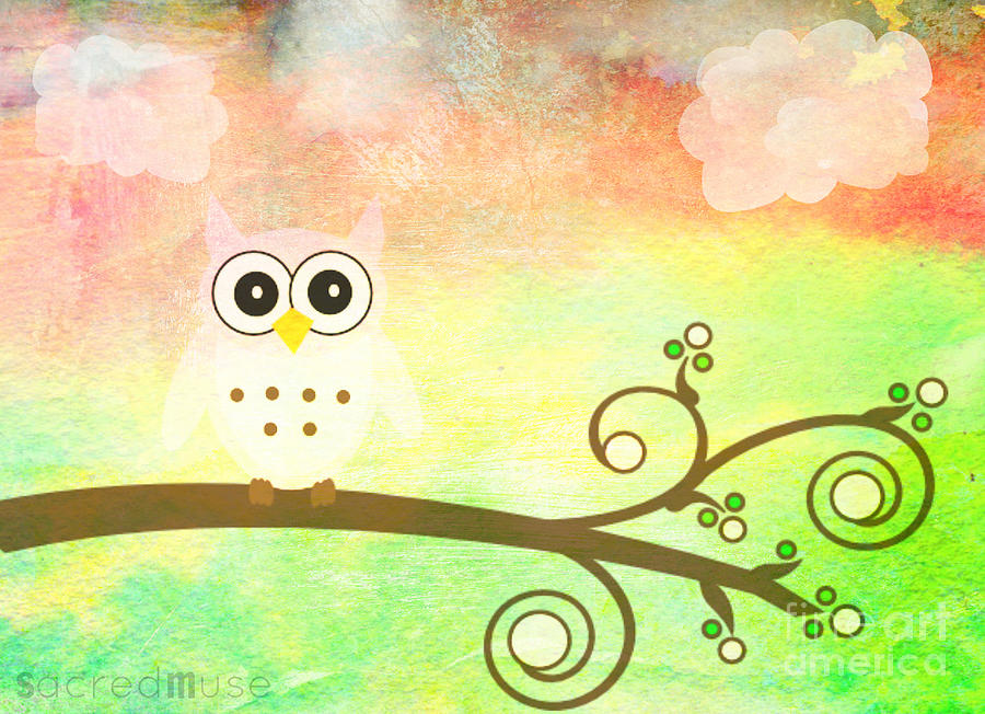 Owl Mixed Media - Whimsy Owl Kids Art by Sacred  Muse