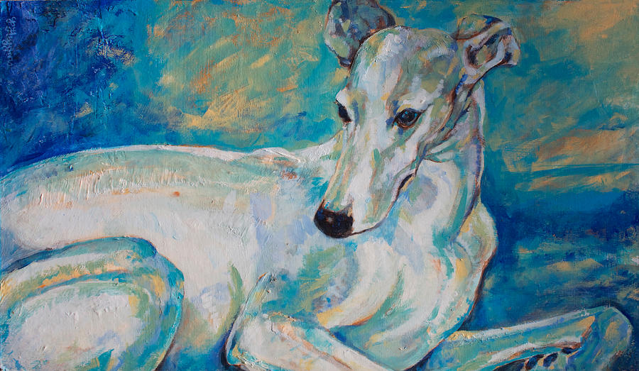 Dog Painting - Whippet-effects Of Gravity 4 by Derrick Higgins