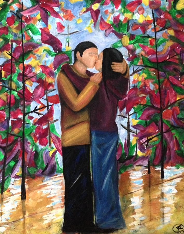 Contemporary Art Painting - Whispering Kiss by D August