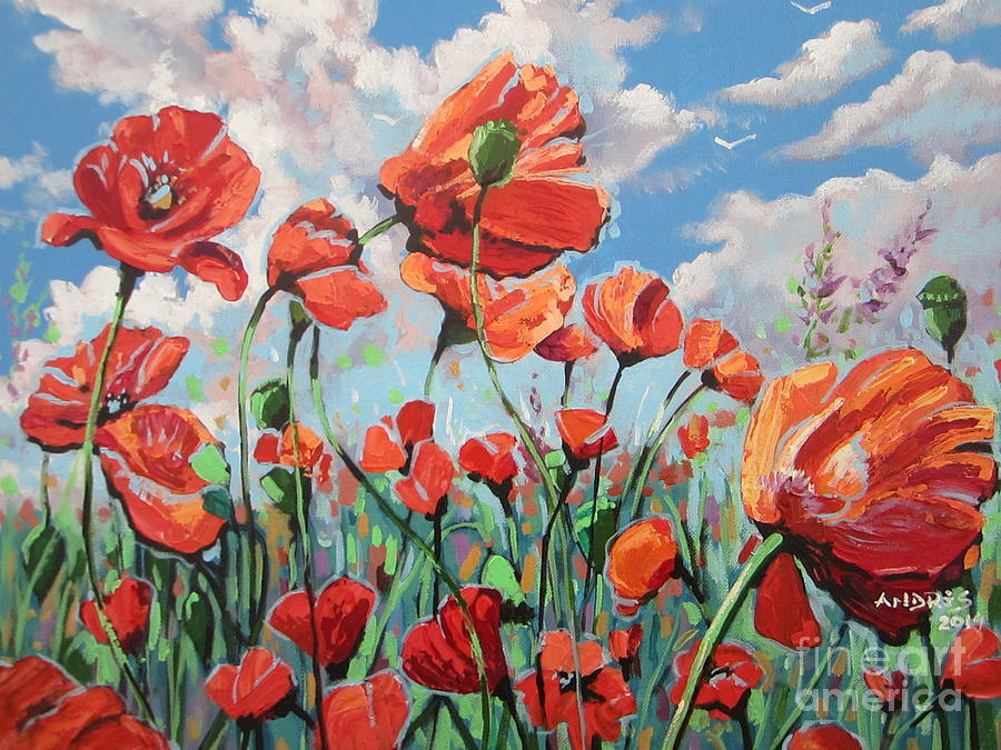 Poppies Painting - Whispering Poppies by Andrei Attila Mezei