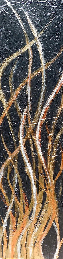 Abstract Painting Painting - Whispering Reeds Abstract Triptych Paintings by Holly Anderson