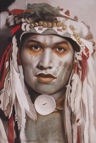 American Indian Painting - Whispering Wind By K Henderson by K Henderson