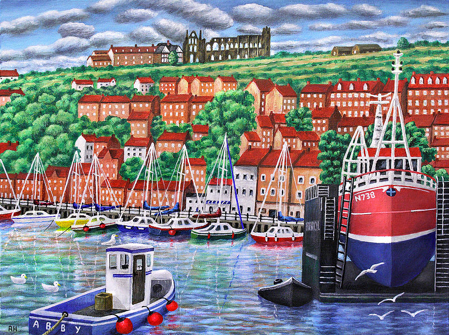 Whitby Painting - Whitby Harbour by Ronald Haber
