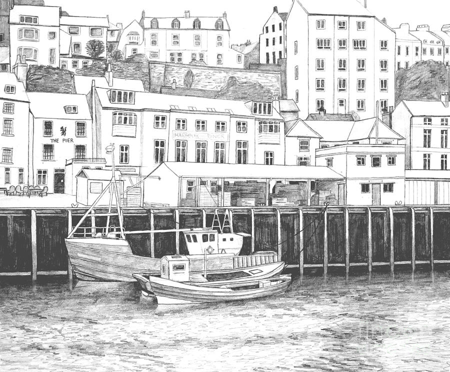 Fishing Drawing - Whitby Harbour by Shirley Miller