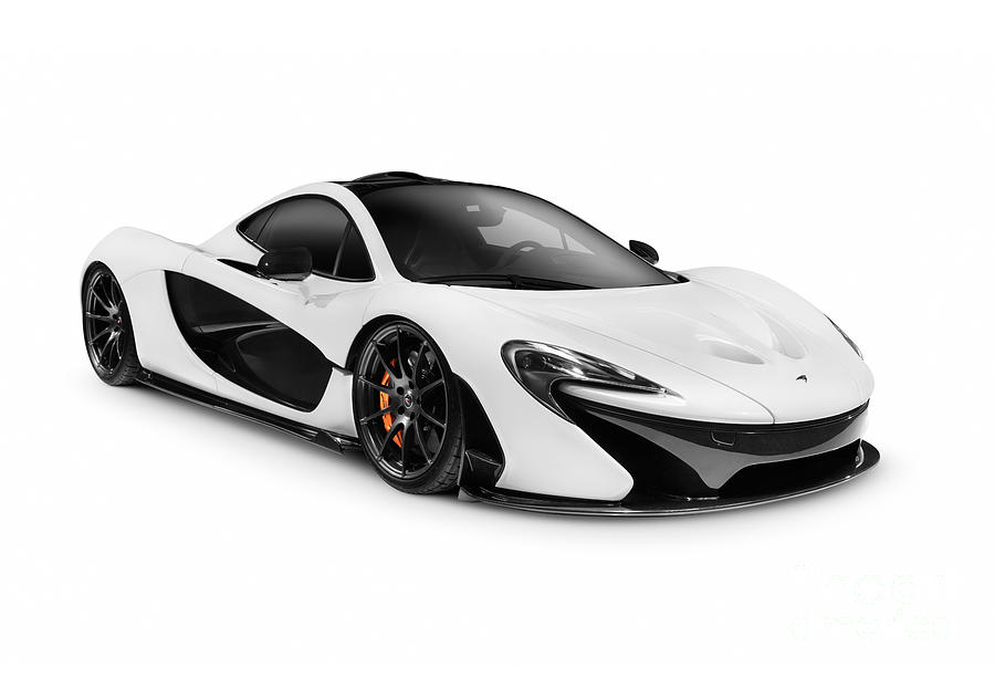 White 2014 Mclaren P1 Plug In Hybrid Supercar Photograph