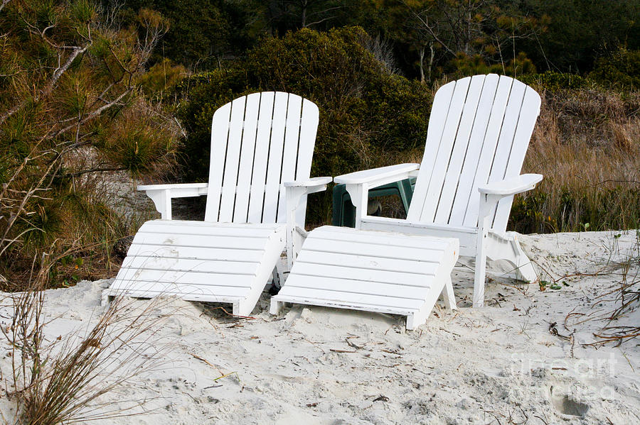 Adirondack Photograph - White Adirondack Chairs In The Sand by Thomas Marchessault