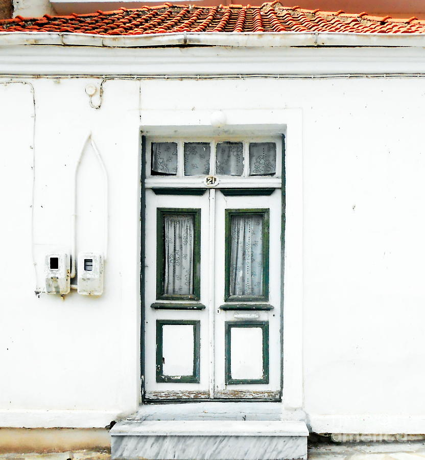 Door Photograph - White And Green Door by Ioanna Papanikolaou
