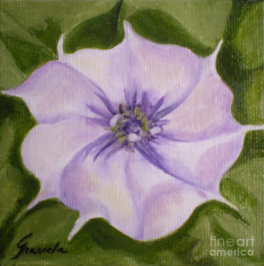 White And Purple Flower Painting By Graciela Castro