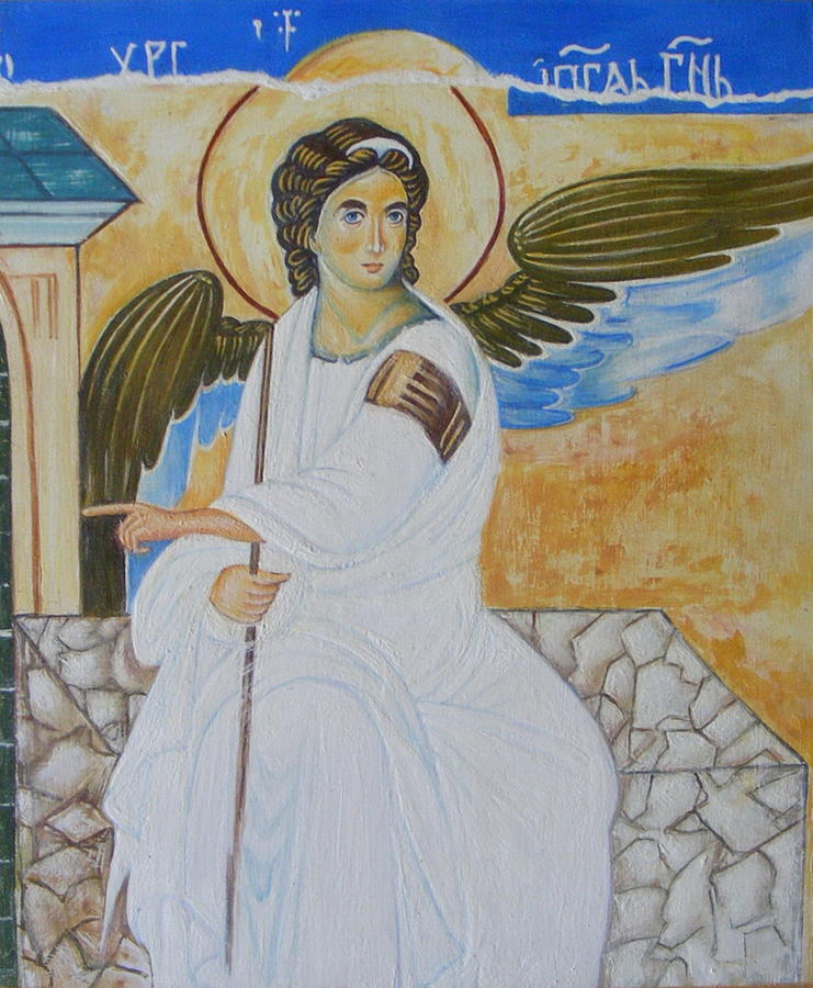 Serbian Painting - White Angel  by Jovica Kostic