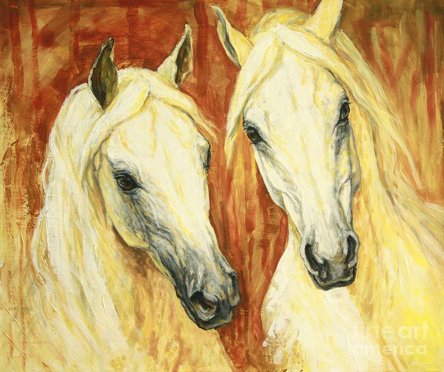 Horse Painting - White Arabian Horses by Silvana Gabudean Dobre