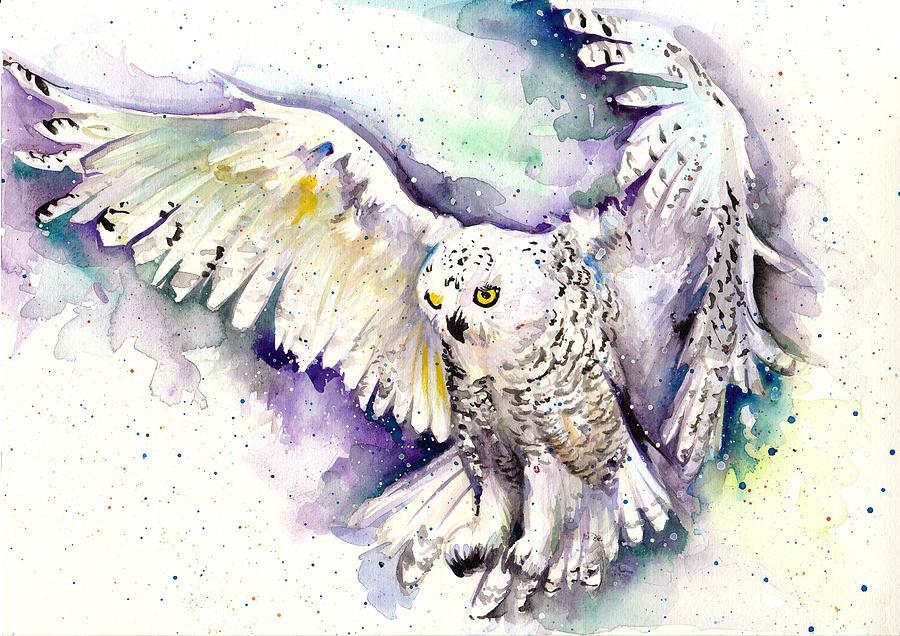 White Arctic Polar Owl - Wizard Dynamic White Owl Painting