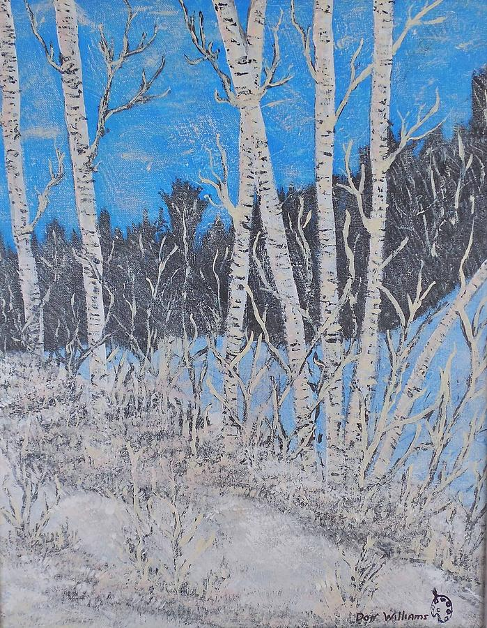 Black Painting - White Birch In The Snow by Don Williams