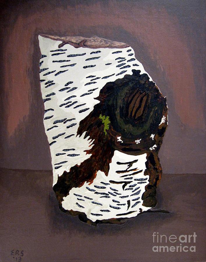 Birch Painting - White Birch Tree Log Tribute by Elizabeth Stedman