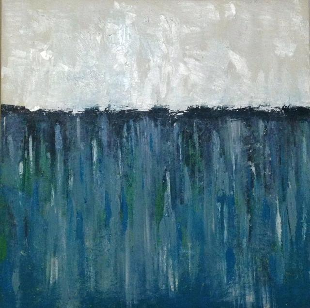 White/bluegreen Painting by Rami Besancon