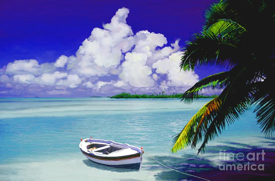 Tropical Painting - White Boat On A Tropical Island by David Van Hulst