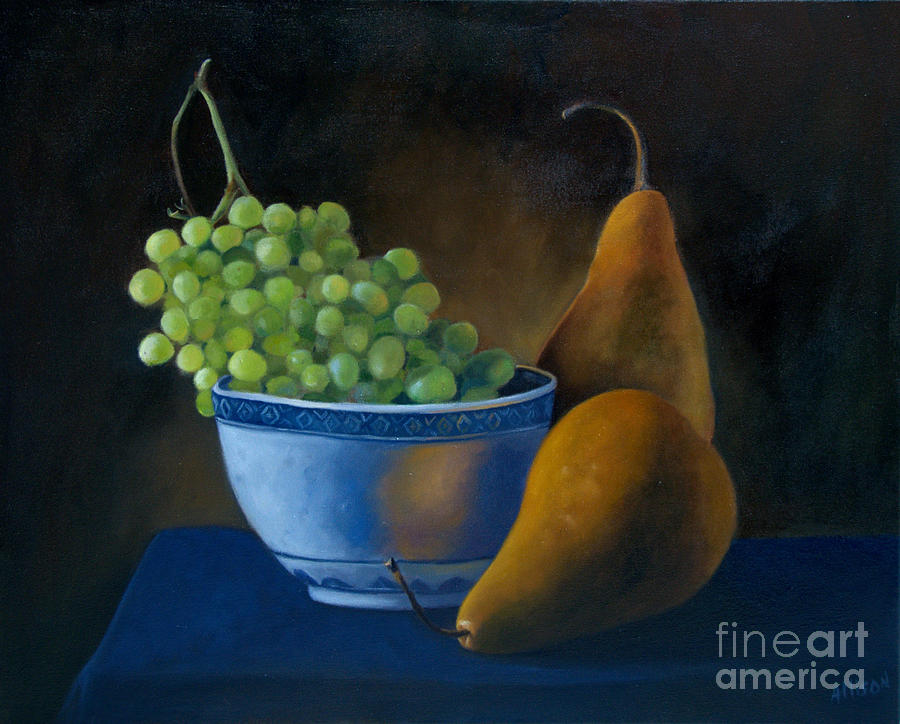 Still Life Painting Painting - White Bowl With Grapes by Stephanie Allison