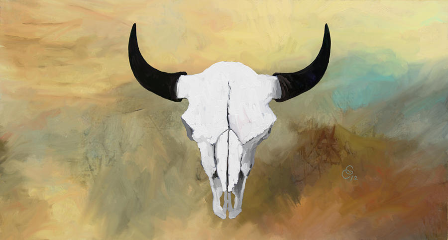 White Painting - White Buffalo Skull by G Cannon