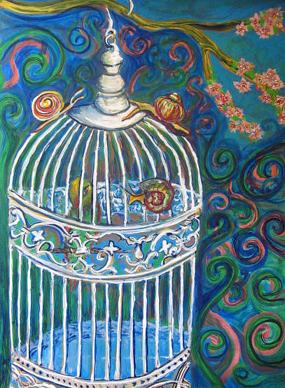Bird Cage Painting - White Cage by Cherie Sexsmith