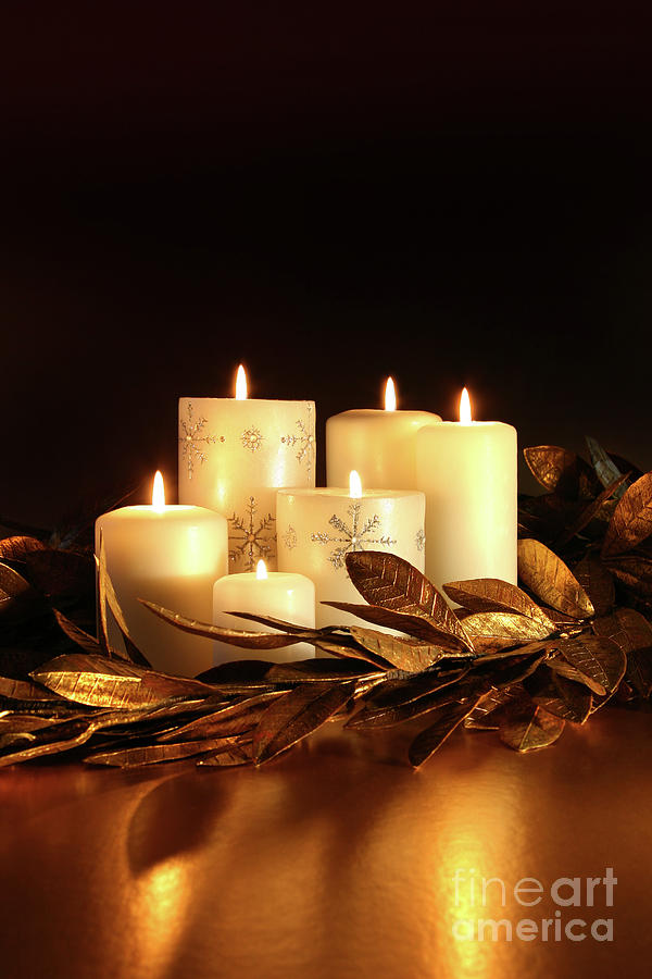 Background Photograph - White Candles With Gold Leaf Garland  by Sandra Cunningham